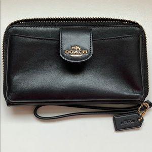 Coach black phone wallet wristlet